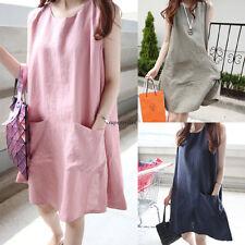 Korean Women Cotton Linen Plus Size Summer Loose Slim A Line Sundress Tank Dress