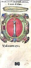1586 ARALDICA STEMMA MARCANTONIO COLONNA Conte di Albe Regno Napoli