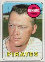 1969 Topps #175 Jim Bunning Near Mint+ Pittsburgh Pirates Free Shipping