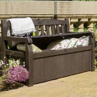 Outdoor Storage Bench Patio Box 70 Gallon Garden Deck Patio Pool Furniture Brown