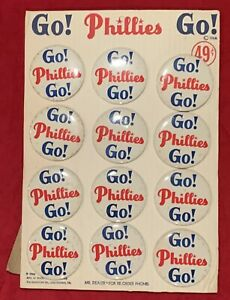 Fantastic Vintage Store Display of 12 1964 Philadelphia Phillies Pin Buttons Old