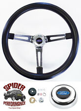 "1970-1977 Maverick T-Bird Pinto steering wheel BLUE OVAL 15"" MUSCLE CAR CHROME"