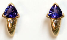14k solid yellow gold Amethyst=.72ct and diamond Earrings