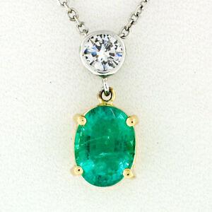 NEW 14K TT Gold 1.44ct Oval Emerald & Round Diamond Drop Dangle Pendant Necklace