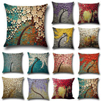 Cushion Cover Flowers Life Tree Cotton Linen Square Pillow Case Sofa Bed Decor