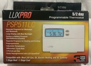 LUXPRO 5-2 Day Programmable Thermostat PSP511LC Electric Heat Cool New Retail Pk