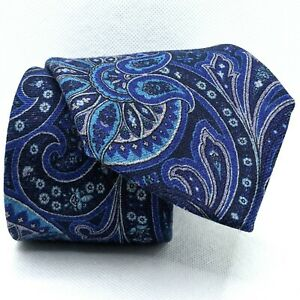 """TED BAKER London Blue Baroque Paisley 100% Wool Tie Paisley - 3 3/8""""W x 59""""L"""