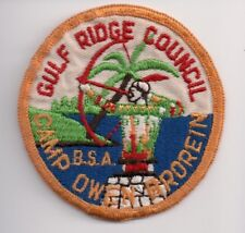 Camp Owen Brorein, 1960-70s Patch, Flat Rolled Edge, Gulf Ridge Council, Florida
