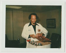 Vintage 70s Polaroid PHOTO Young Black Man In Lab Jacket w/ Christmas Presents