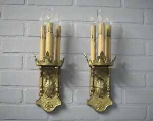 Vintage Antique A & C Craftsman Brass Bronze Wall Sconces Fleur De Lis Rewired
