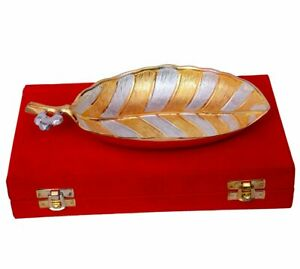 New Leaf Style Silver And Gold Liner Plated Brass Dry Fruit Serving Tray