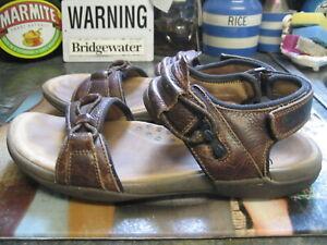 clarks active air brown leather adjustable strap sandals size uk 9