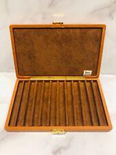 BOJOLA Brown Leather 12 Pen Storage Travel Case Box