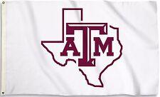 Texas A&M Aggies 3' x 5' Flag (Texas State Shape on White) NCAA Licensed