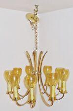Vintage Mid Century Mod ATLAS Lighting Brass Atomic -9 Arm Candlestick Glass Cup