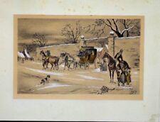 Lithographie rehauts gouache Attelage signé Mandy cheval équitation