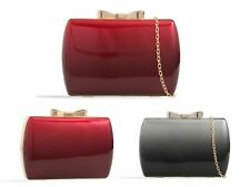 Designer Women's Plain Patent Leather Envelope Shiny Shoulder Chain Clutch Bag