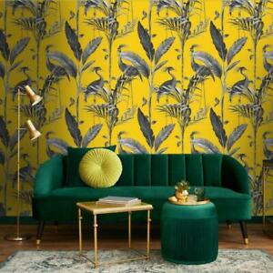 Azzurra Yellow Heron on Palm Leaf Wallpaper by Belgravia 9508