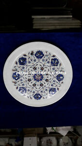 """9"""" Marble Round Serving Plate Lapis Lazuli Inlay Floral Design Home Decor H4077"""