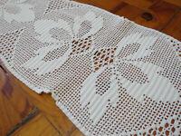 White crochet table runner Filet Lace Long Doily Vintage Hadmade Dresser Scarf