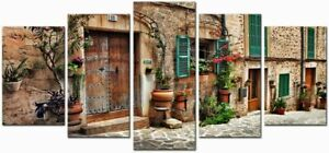 Streets of Old Mediterranean Town 5 Piece canvas Wall Art Print Home Decor