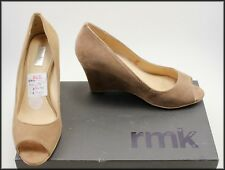 RMK WOMEN'S WEDGED  HEEL SUEDE OPEN TOE SHOES SIZE 6 AUST 37 EUR WORN ONCE