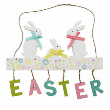 Easter Art Deco Decorations, Room Ornament - Bunny Family Hanging Easter Sign