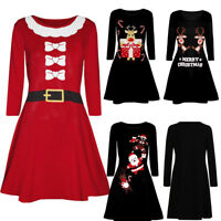 Women Vintage Christmas Printed Long Sleeve Evening Prom Costume Swing Dresses