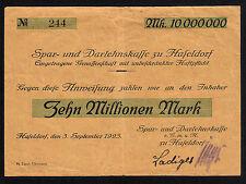 Haseldorf -Spar- u. Darlehenskasse- 10 Millionen Mark vom 3.09.1923