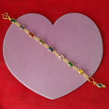 "Beautiful  Multy Stone 18K Yellow Gold Plated Bracelet 6.7 Gr. 7"".5  Inc. Long"