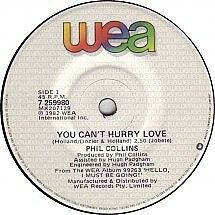 """Phil Collins """"You Can't Hurry Love"""" Smash Oz 7"""""""