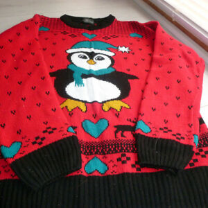 Womens red penguin christmas jumper size large