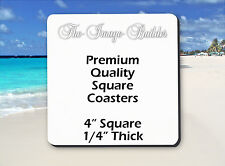 """5 Blank White Square Coasters 4"""" x 1/4"""" Sublimation Heat Transfers Square5FS"""