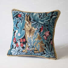 """Jacquard Weave Tapestry Pillow Cushion Cover William Morris - Hare, 18""""x18"""", UK"""