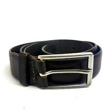 """Zara Mens 100% Leather Belt Dark Brown 28mm 28-35"""" Silver Buckle Made in Spain"""