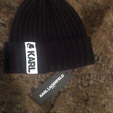 Karl Lagerfeld Black Hat Beanie Winter Fall Stylish Sport Athletic Outdoors Logo