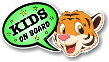 Funny Novelty Cute TIGER & Green KIDS ON BOARD Speech Bubble vinyl car sticker