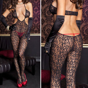 Black Rose Swirl Lace Y-front Side Cut-Out Backless Deep V Bandeau Bodystocking