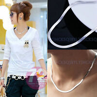 4mm Women Men's 925 Sterling Silver Flat Snake Bone Choker Necklace Chain Gifts