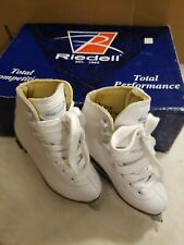 new riedell model 10 ice figure skates girls white size 9 youth gr4
