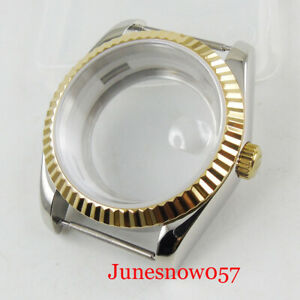 Two Tone Gold Fluted Bezel 36mm Watch Case See-through fit MIYOTA 8215 ETA 2836