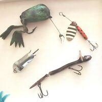 Lot of 4- Vintage Fishing Lures --Vintage FROG LURE & SNAKE LURE