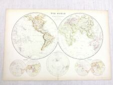1888 Antique World Map Eastern Western Hemisphere 19th Century Blackie & Son
