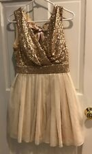 Dress Womens Size Sz 9 Women's Gold Evening Mini Dress Prom Formal Speechle