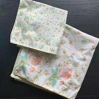 April Cornell 2 Pillow Covers Yellow Pink Green Florals 22 X 22, 15 x15