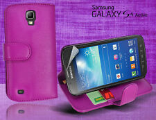 Purple Side Wallet Leather Case Cover for Samsung Galaxy S4 Active i9295 + SP