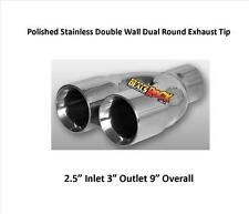 Brand New Polished Stainless Double Wall Dual Round Exhaust Tip