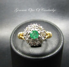 18ct Gold Emerald and Diamond Cluster Ring Size G 4.1g