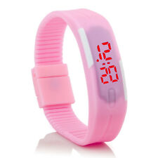 Digital Silikon LED Armband Uhr Armbanduhr Watch Herren Damen Kinder Pink Sport