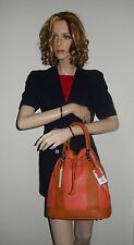 VALENTINA ITALIAN LEATHER DRAWSTRING BUCKET BAG IN CORAL/ TAN NWT